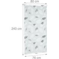 Store de baignoire, 80 x 240 cm, rideau de douche avec chaine, montage flexible, salle de bain, noir-blanc