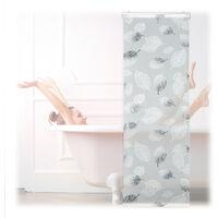 Store de baignoire, 60 x 240 cm, rideau de douche avec chaine, montage flexible, salle de bain, noir-blanc