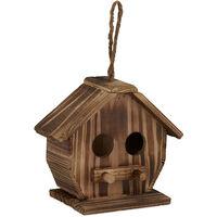 Nichoir pour oiseaux déco, en bois brulé, volière à suspendre, pour l'extérieur, 28,5 x 19 x 10,5 cm, naturel