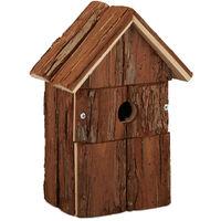 Nichoir pour oiseaux déco, en bois, volière à suspendre, maison déco de jardin, 25,5 x 18 x 12,5 cm, nature