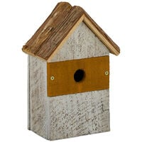 Nichoir pour oiseaux déco, en bois, volière à suspendre, maison déco de jardin, 26,5x18x12 cm, nature/blanc