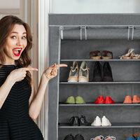Meuble à chaussures tissu, 9 compartiments, 36 paires, housse amovible, armoire, HLP 158x86x30 cm, anthracite