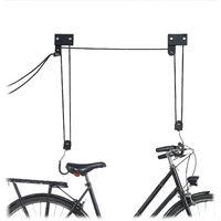 Porte-vélo plafond 57 kg de capacité, crochets, corde frein,tirette de câble, Kajak, ascenseur vélo, noir