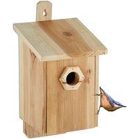 Nichoir pour oiseaux, à accrocher, bois non traité, trou d'envol en diverses tailles, HLP: 32x16x17 cm, nature