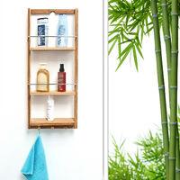 Étagère de salle de bain en Bambou 3 étages panier Mural HxlxP : 70 x 28,5 x 10 cm serviteur de douche à suspendre crochet porte-serviettes torchons étagère de cuisine en bois, nature