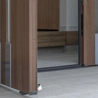 Jeu de 3 cales de portes, butoirs pour le sol, caoutchouc, acier inox, antidérapant, 3x5x11,5 cm, noir/argenté