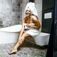 Abattant WC siège enfant, lunette familial toilette en forme de D L x P 36 x 46 cm, blanc