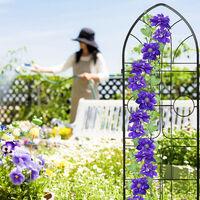 Treillis de jardin, métal, lot de 2, espalier plantes grimpantes, à planter, clôture, 184 x 54 cm, noir