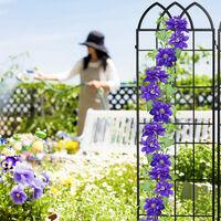 Treillis de jardin, métal, lot de 2, espalier plantes grimpantes, à planter, clôture, 183 x 51 cm, noir