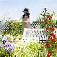 Tuteur carré, arche rosier, obélisque, support plantes grimpantes, treillis, vignes, acier, H : 152 cm, noir