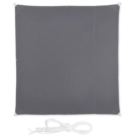 Corde di Supporto da Terrazza e Giardino Relaxdays Tenda a Vela Quadrata Anti UV Beige LxP: 2x2 m Impermeabile