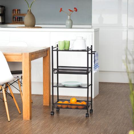 Relaxdays Mobiletto Su Ruote Scaffale Stretto In Metallo 4 Ripiani Carrellino Salvaspazio Cucina 81x25x50 Cm Nero