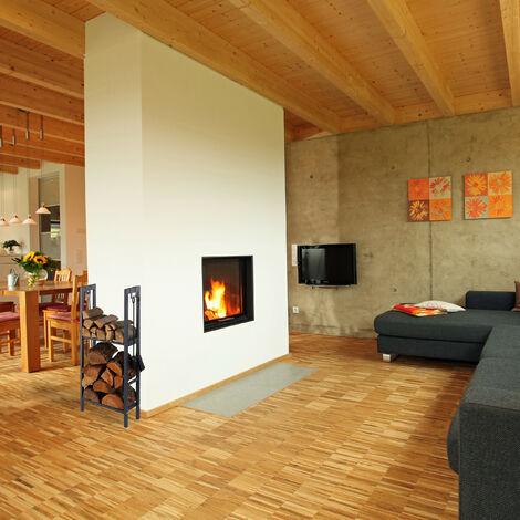 Relaxdays Scaffale Porta-Legna con 2 Ripiani 100 x 60 x 30 cm Antracite 4 Ganci per gli Accessori da Camino Acciaio