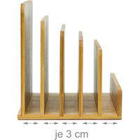 Portalettere da Tavolo in Bambù, Organizer Portadocumenti da Scrivania, 5 Scomparti, Porta Lettere, Naturale