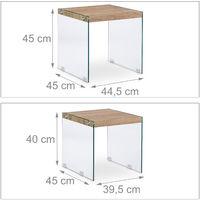 10023134 Set 2 Tavolini Sovrapponibili in Vetro con Ripiano in Legno, Tavoli da Divano per Soggiorno, Altezza 40-45 cm
