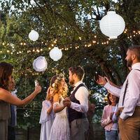 Lanterne LED Bianche, Set da 10 Pezzi, a Batteria, per Interni & Esterni, da Appendere, Carta, Ø 20cm, bianco
