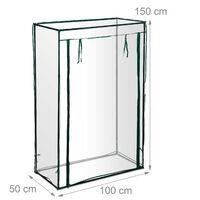 Serra per Pomodori, Giardino, Balcone, Telo Orto Trasparente, HLP 150x100x50 cm, Acciaio & PVC, trasparente