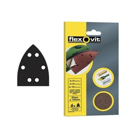 Flexovit 63642526508 Detail Hook & Loop Sanding Sheets 95 x 145mm Assorted Pack of 6
