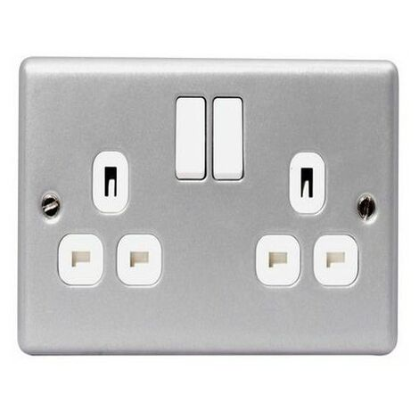 Masterplug MC522-01 Metal Clad Switched Socket 2-Gang 13A