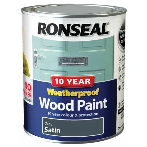 Ronseal 38789 10 Year Weatherproof 2-in-1 Wood Paint Grey Satin 750ml