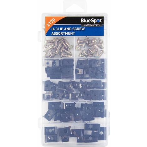 BlueSpot 40532 170 Piece Assorted U-Clip and Screw Set