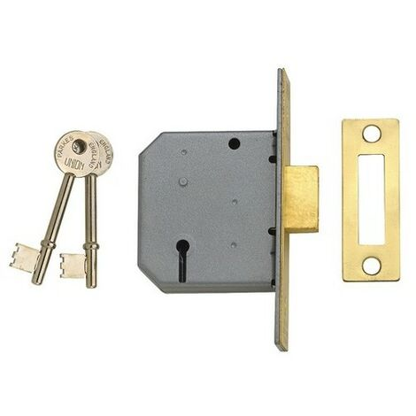 UNION J2177-PL-3.00 3 Lever Mortice Deadlock Polished Brass 77.5mm 3in Box