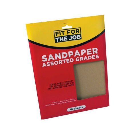 Fit For The Job FFJASP10A Sandpaper Assorted Grades Pack of 10