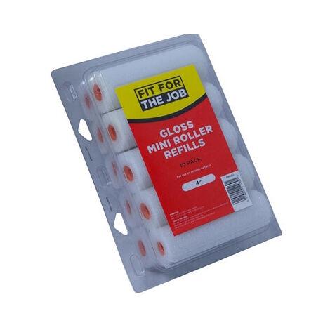 "Fit For The Job FRRE002 Mini Gloss Roller Refills 4"" Pack of 10"
