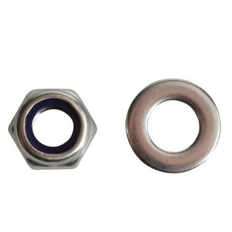 Forge FPNYLOC8SS Nyloc Nuts & Washers A2 Stainless Steel M8 Forge Pack of 12