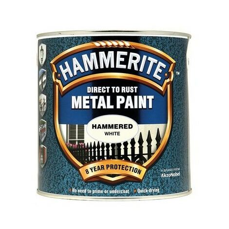 Hammerite HFW25L Direct to Rust Hammered Finish Metal Paint White 2.5 Litre