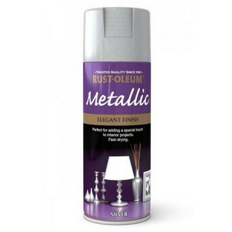 Rust-Oleum AE0110002E8 Metallic Elegant Metallic Silver Spray Paint 400ml