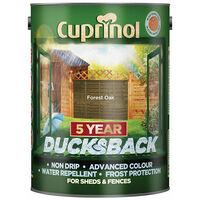 Cuprinol 5092434 Ducksback 5 Year Waterproof for Sheds & Fences Forest Oak 5 Litre