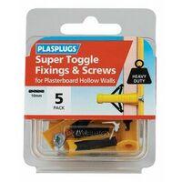 Plasplugs HWSTS05 Super Toggle Fixings & Screws (Pack 5)