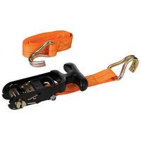 Silverline 459875 Rubber-Handled Ratchet Tie Down Strap J-Hook 3m x 38mm - Rated 500kg Capacity 1000kg