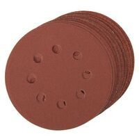 Silverline 479349 Hook & Loop Discs Punched 10pce 125mm 4 x 60, 2 x 80, 120, 240G