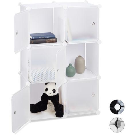 Estantería Modular Cubo con 6 Compartimentos, Plástico, Blanco, 97.5 x 66 x 32 cm