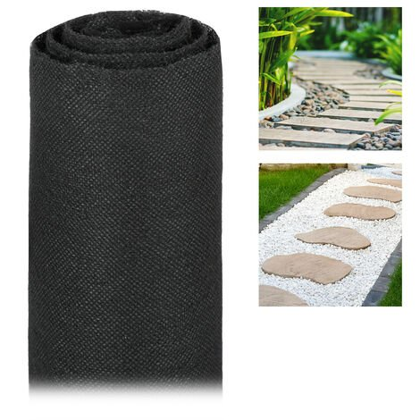 Malla Antihierbas 17 g/m² Permeable y Resistente a los Rayos UV, Polipropileno, Negro, 15 m