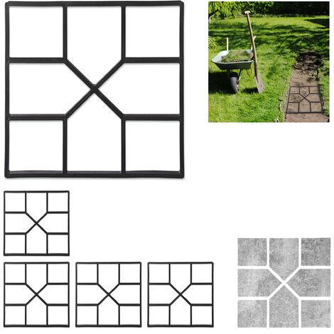 Pack de 5 Moldes Hormigón para Pavimentos, Plástico, Negro, 40 x 40 cm