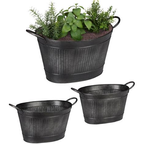 Jardineras Metal Ovaladas de Estilo Vintage, 3 Unidades, Hierro Galvanizado, Gris Oscuro, Varios Tamaños