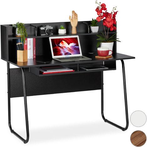 Escritorio, Tablero y estantes, Paso de cable, 109x120x60 cm, Negro
