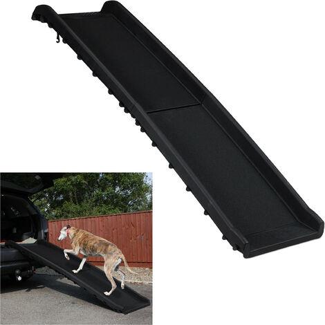 Rampa para Perros Coche, Plegable, Antideslizante, Maletero, hasta 90 kg, Plástico, 1 Ud., 156 x 40 cm, Negro