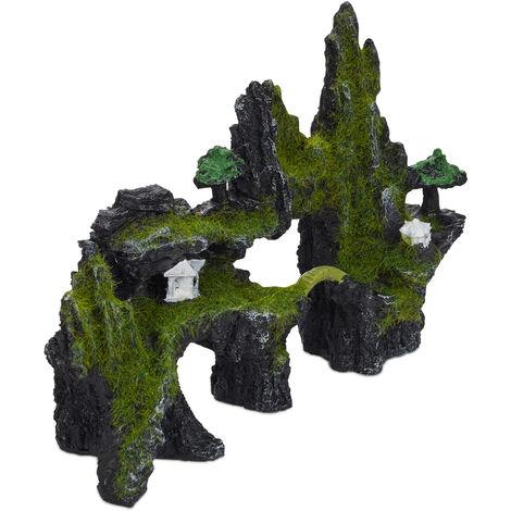 Decoración Acuario Roca, Estilo Japonés, Piedra, Escondite Peces, Poliresina, 1 Ud., 17 x 23,5 cm, Negro-Verde