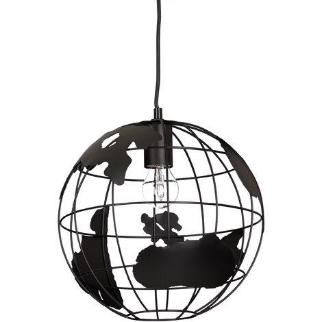Lámpara de techo, Globo terráqueo, Diseño, Ajustable, Metal, Negro, Ø 30 cm
