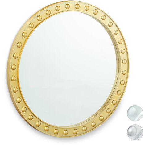 Espejo decorativo de pared, Redondo, Colgante, ∅50,5 cm, Dorado