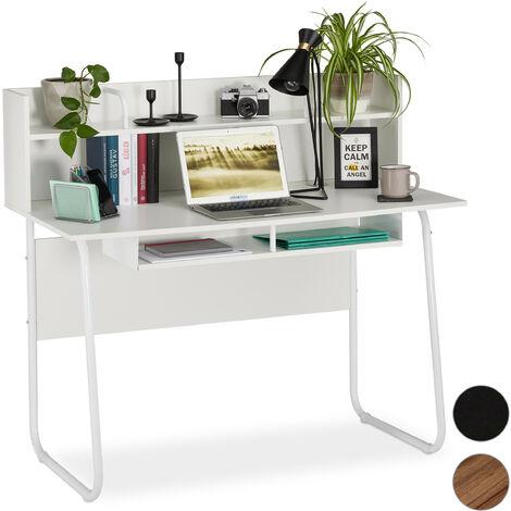 Escritorio, Tablero y estantes, Paso de cable, 109x120x60 cm, Blanco