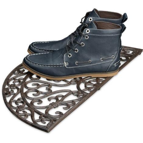 – Felpudo semicircular para la entrada del hogar, 2 x 60 x 31 cm, Hierro fundido con patas de goma, antideslizante, Color bronce