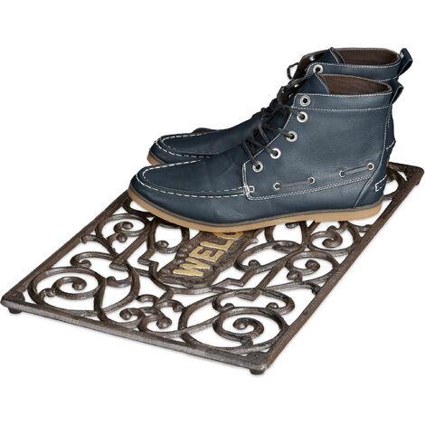 – Felpudo rectangular para la entrada del hogar, 2 x 52 x 32.5 cm, Hierro fundido con patas de goma, antideslizante, Color bronce