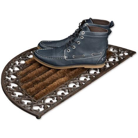 – Felpudo redondo con cepillos para la entrada del hogar, 4 x 72 x 39 cm, Hierro fundido con patas de goma, antideslizante, Color Marrón/bronce