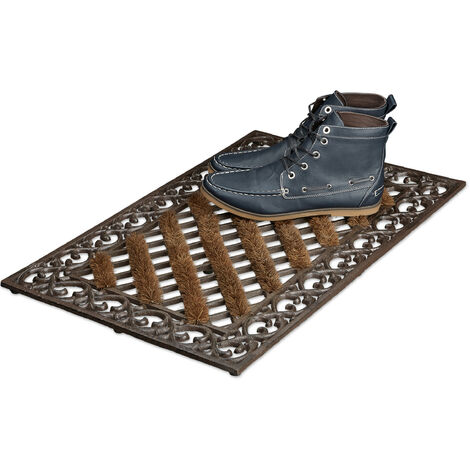 – Felpudo rectangular con cepillos para la entrada del hogar, 4 x 72 x 46 cm, Hierro fundido con patas de goma, antideslizante, Color Marrón/bronce