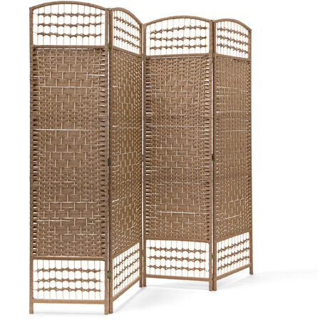 – Biombo / Panel/Divisor/Separador de habitaciones, 179 x 180 x 2 cm, 4 paneles, Madera con puntales de bambú, color natural